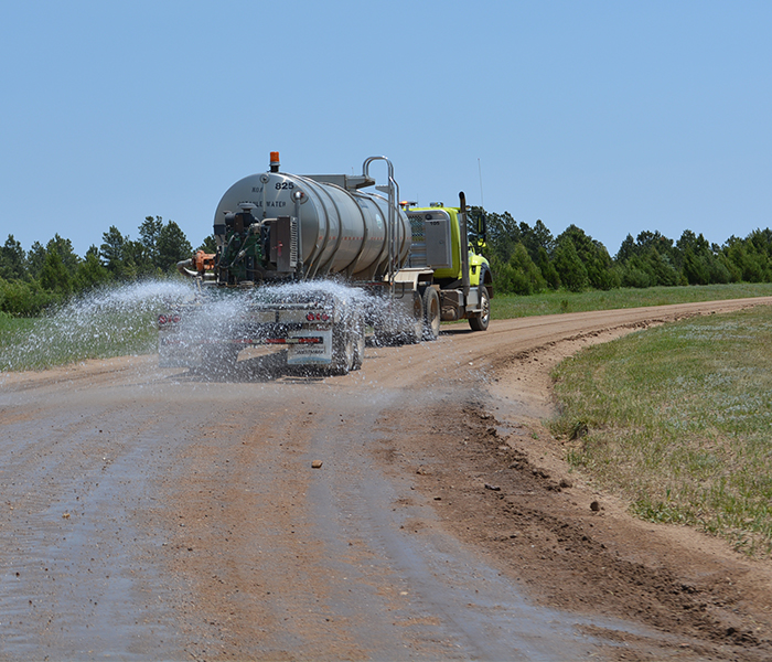 Gravel roads watering